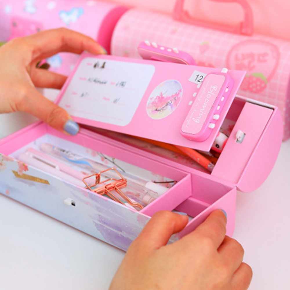 Creative Pencil Box Multifunctional With Code Lock Large Capacity Pencil Cases For Boys Girls School Stationery Portable