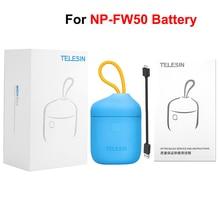 TELESIN Allin kutusu NP FW50 pil şarj cihazı depolama şarj kutusu USB kart okuyucu için FW50 piller SONY a7R NEX A7II DSLR