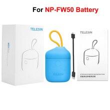 TELESIN cargador de batería Allin Box NP FW50, caja de carga, lector de tarjetas SD para baterías FW50 para SONY a7R NEX A7II DSLR
