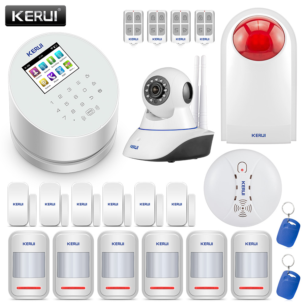 KERUI W2 Home Security Alarm System WIFI GSM 2.4inch Full Color Touch Panel Motion Detector Door Sensor WIFI IP Camera Alarm Kit
