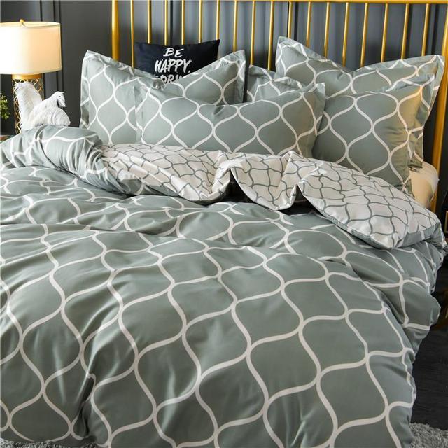 Hot! Geometric King Comforter Bedding Set Bed Linen Set Grey Black Duvet Cover Sets Queen Bedding Sets With Pillowcase DA01#