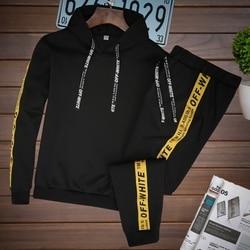 Mannen Sets Trainingspak Hooded Jas + Broek Past Sweatshirt Trekkoord Outfit Sportkleding Mannelijke Trui 2 Delige Set Casual Sportsuit
