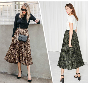 Image 4 - Họa Tiết Da Báo Váy Nữ 2020 Mùa Xuân Mới Thu Lưng Thun Một Đường Xếp Ly Midi Váy Dạo Phố