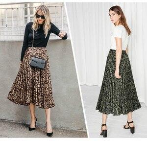 Image 4 - Wzór w cętki spódnice damskie 2020 nowa wiosna jesień w pasie linia plisowana spódnica trzy czwarte casualowe w stylu Streetwear