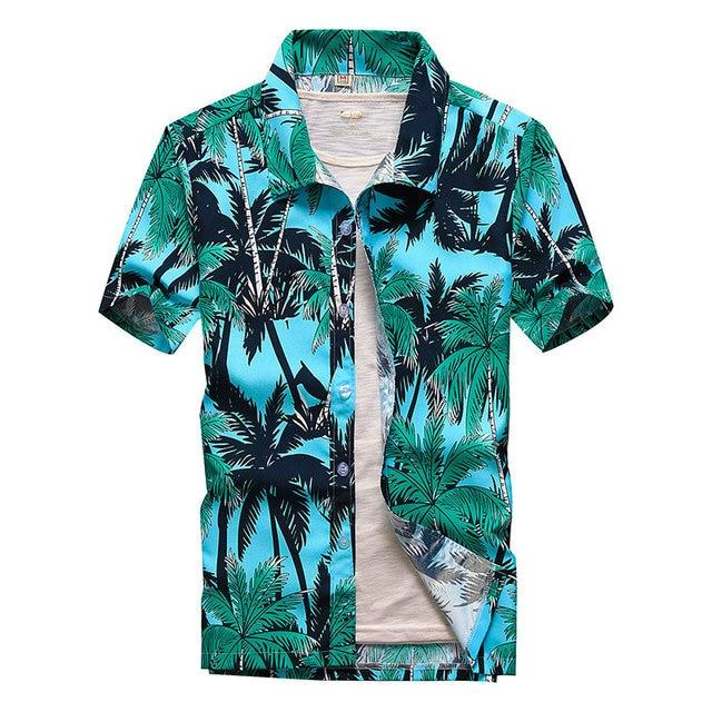 Beach Shirts Men Summer Vacation camisas para hombre Coconut tree Printed Short Sleeve Button Down Hawaiian shirts for Men M-5XL 1