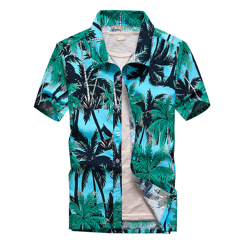 Beach Hawaiian Shirts Men Clothes Summer Vacation Fashion Camisa Masculina Printed Short Sleeve Button Down Hawaiian Shirts Mens