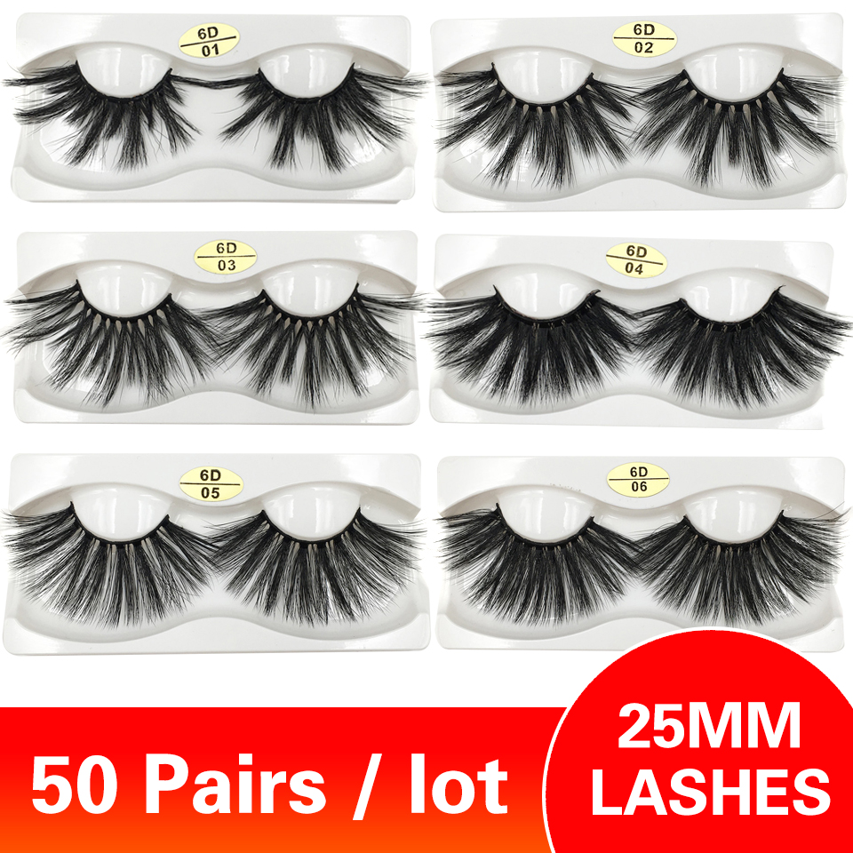 <font><b>50</b></font> <font><b>Pairs</b></font> <font><b>25mm</b></font> Wimpern Großhandel Wimpern 28 Stile Handgemachte Lange Faux Nerz Wimpern Make-Up 3d Auge Wimpern image