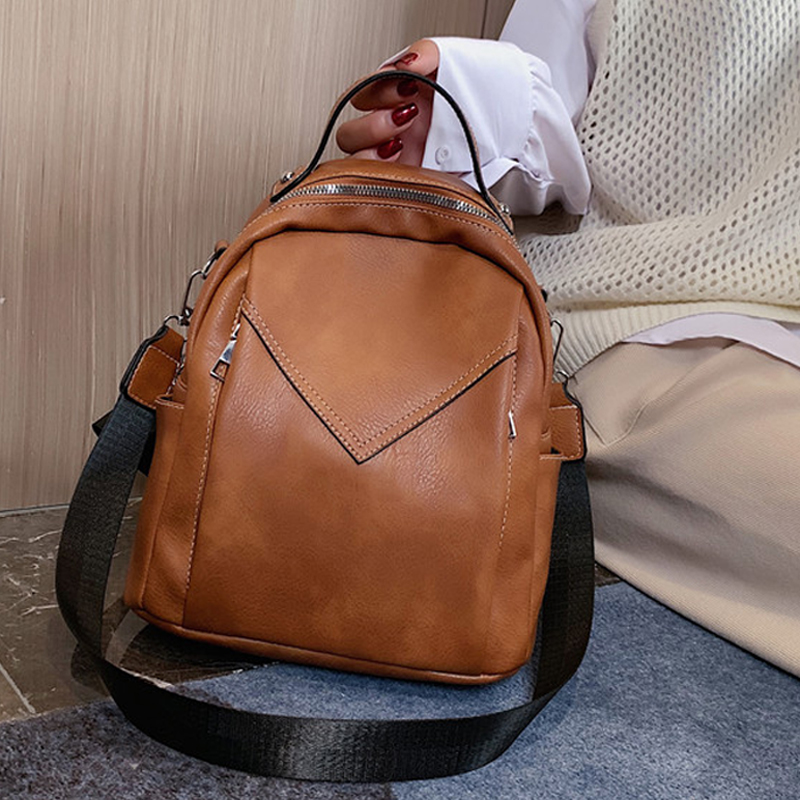 Fashion Women Leather Backpack Small PU School Bag Backpack For Teenager Girls Rucksack Vintage Shoulder Bags Mochila Feminina