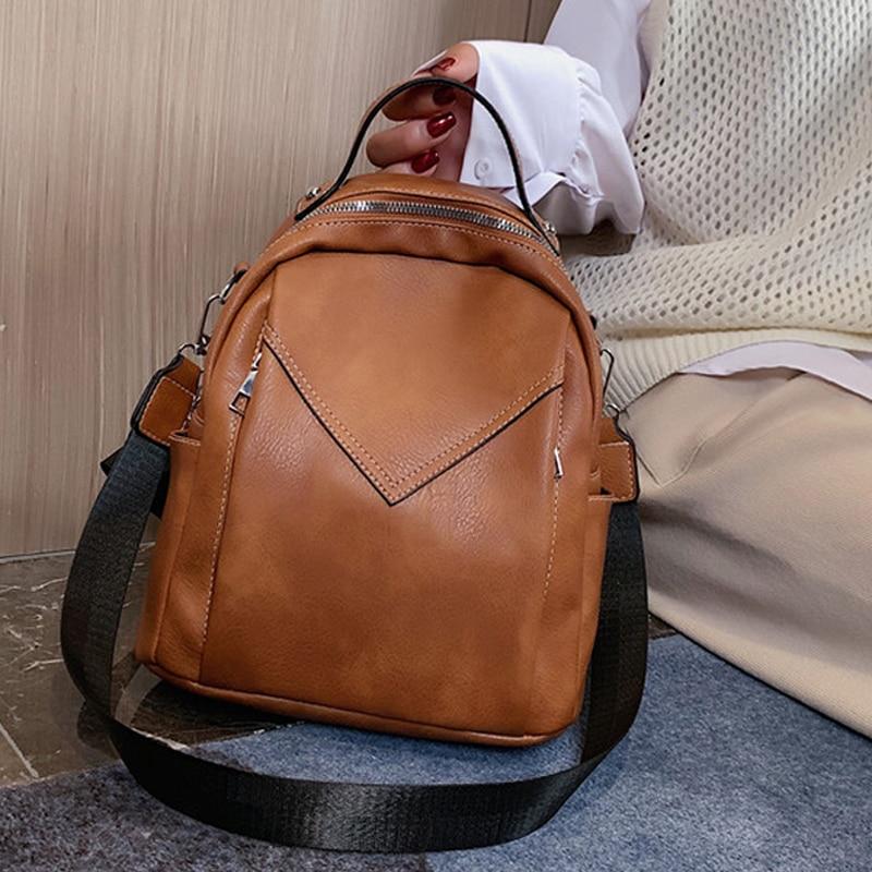 Fashion Women Leather Backpack Small PU School Bag Backpack For Teenager Girls Rucksack Vintage Shoulder Bags Mochila Feminina