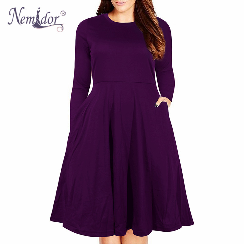 Nemidor Women's Round Neck Summer Casual Plus Size Fit and Flare Midi Dress with Pocket (11)