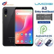 Oryginalny UMIDIGI A3 Smartphone podwójny 4G LTE Android 8.1 2GB RAM 16GB ROM MTK6739 5.5 ''12MP podwójny aparat tylny 3300mAh telefon komórkowy