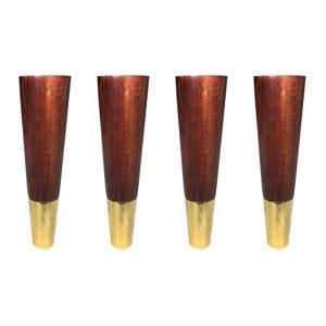 Image 3 - 4 adet doğal ahşap mobilya ayakları katı kauçuk ahşap masa dolap ayakları ayakları demir plaka vidaları
