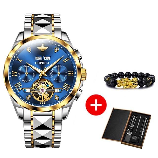 2020 Luxury Men Mechanical Wristwatch Tungsten Steel Tourbillon Watch Sapphire Glass Men Watches reloj hombre OUPINKE Brand 8