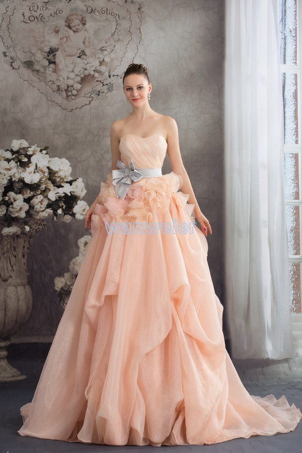 Free Shipping 2018 Vestido De Noiva Fantasias Handmade Bride Belt Cinderella Champagne Organza Mother Of The Bride Dresses