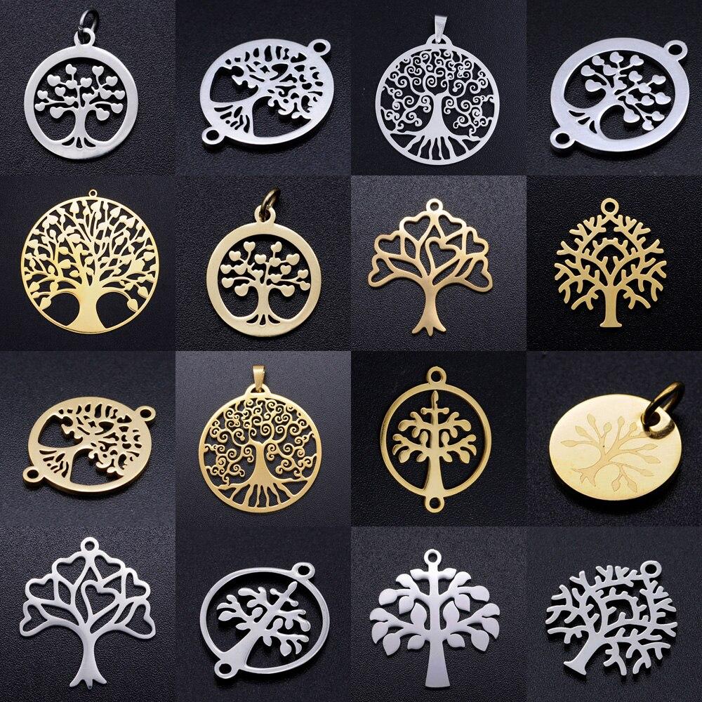 5 шт./лот ювелирные изделия «Древо жизни» из нержавеющей стали, сделай сам, изготовление сережек, шарм, оптовая продажа, ожерелье с семейными ...