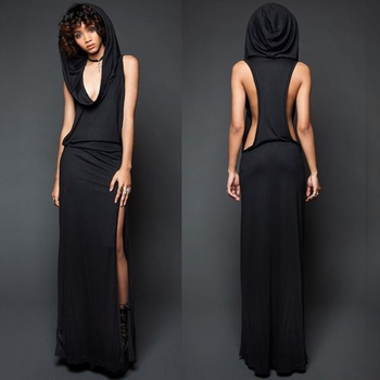 Imily Bela Vintage Hooded Maxi Dress Women Sexy Sleeveless Side Slit Split Bodycon Long Femme Rome Open Vestidos