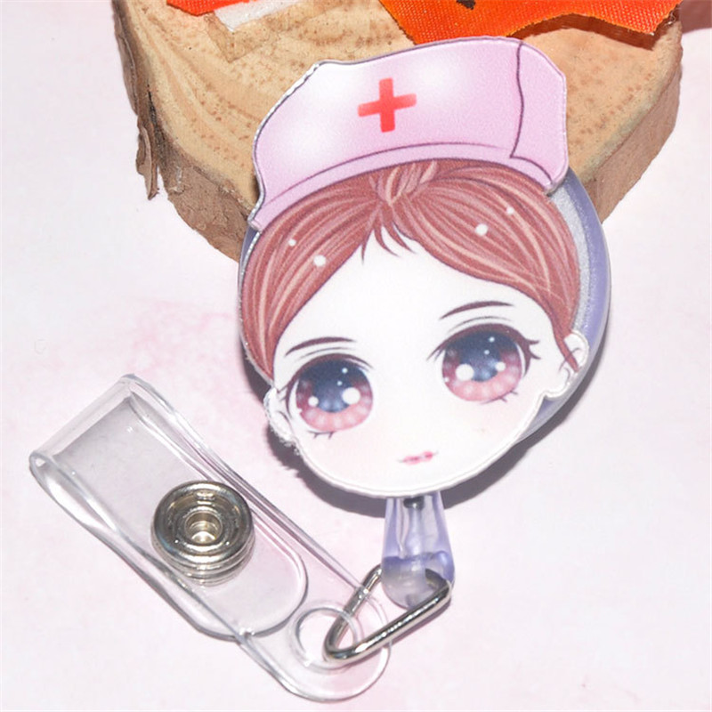 New listing Cute nurse cartoon easy buckle Doctor retractable buckle Card Badge Holder Clip Student Doctors Badge Holder