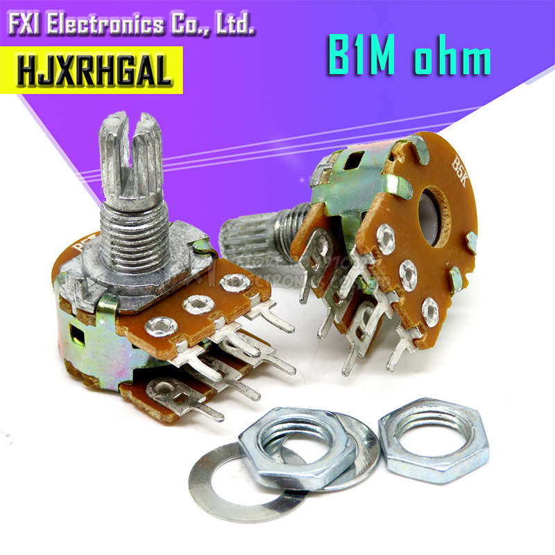 5 шт. 1 м ом WH148 B1M 6pin 1 м потенциометр 15 мм вал с гайками и шайбами горячая распродажа