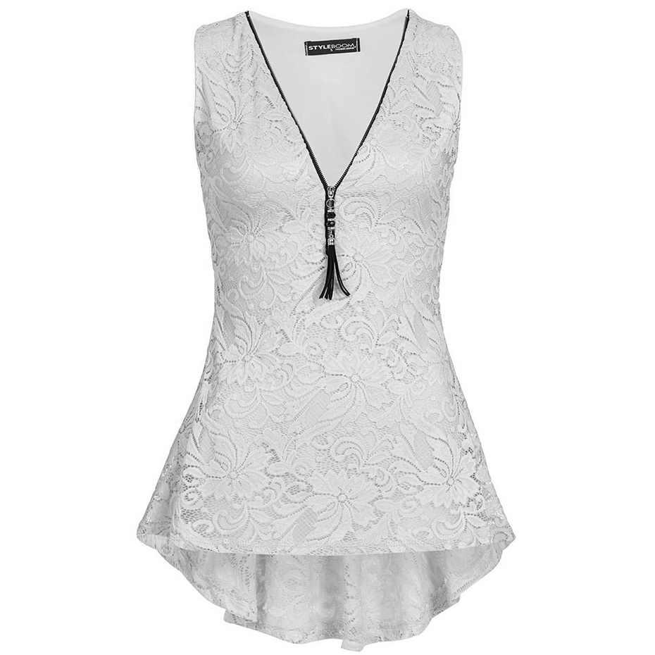 ZOGAA 2019 Zomer nieuwe Kant Tank Top Vrouwen Mouwloze Slim Casual Vest Tops V Hals Shirt Wit Vrouwelijke Zomer vrouwen sexy tank tops