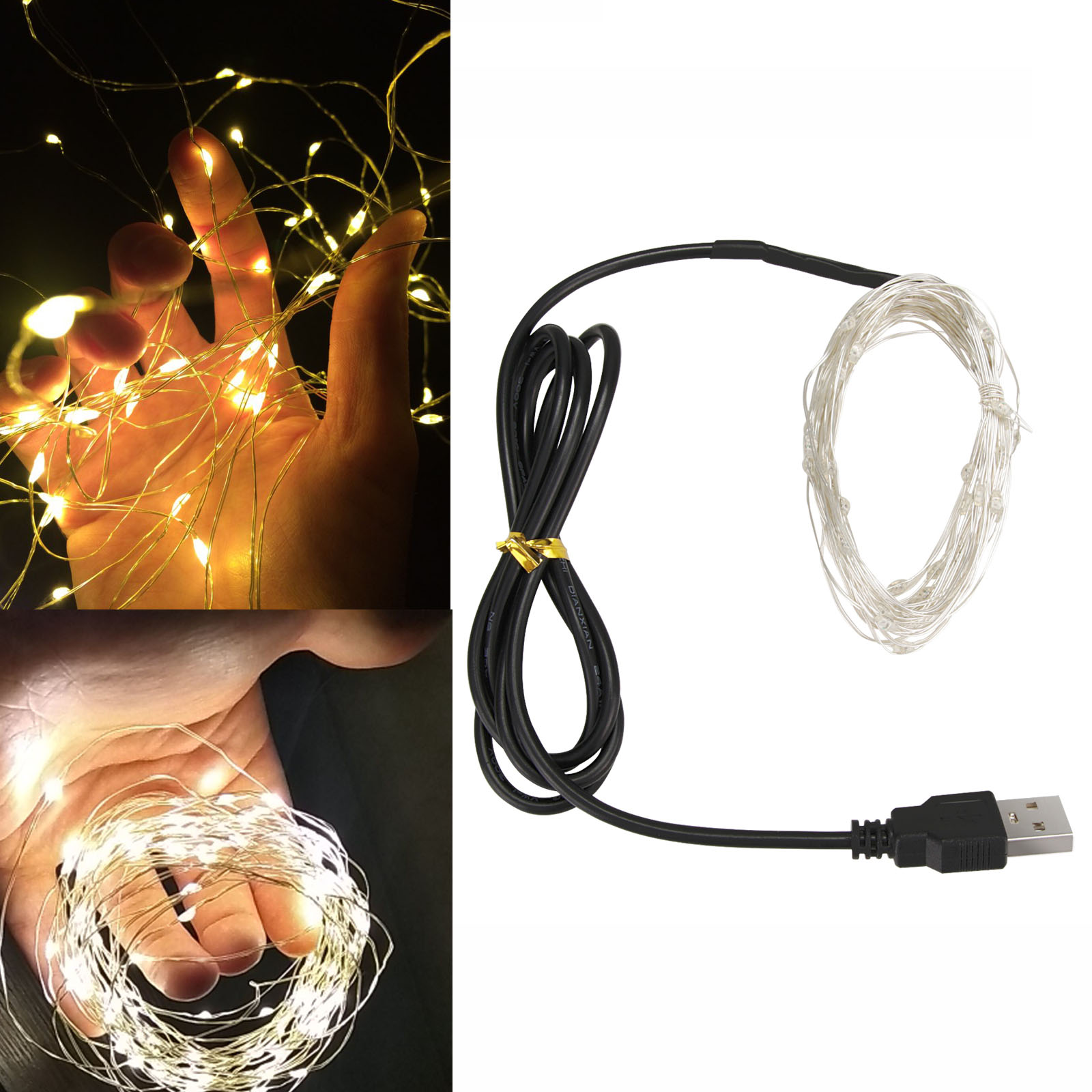 USB Powered 5V LED String Lights 10M 100LED Sliver Cooper Wire Garland Home Christmas Wedding Xmas Party Decoration Fairy Light