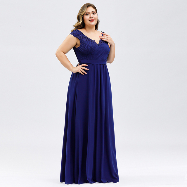 Plus Size Prom Dresses A-Line V-Neck Sleeveless Ruched Appliques Elegant Chiffon Formal Party Gowns Vestido Gala Mujer 2020 2