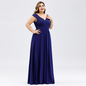Image 2 - Plus Size Prom Dresses A Line V Neck Sleeveless Ruched Appliques Elegant Chiffon Formal Party Gowns Vestido Gala Mujer 2020