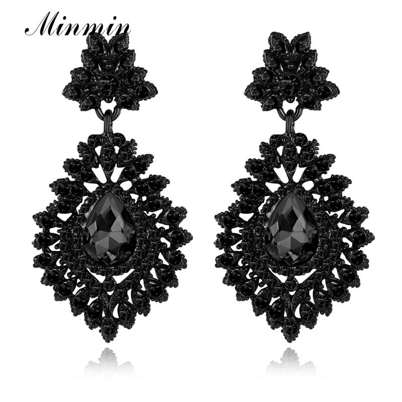 Minmin Pernyataan Besar Teardrop Kristal Panjang Drop Earrings untuk - Perhiasan fashion - Foto 6