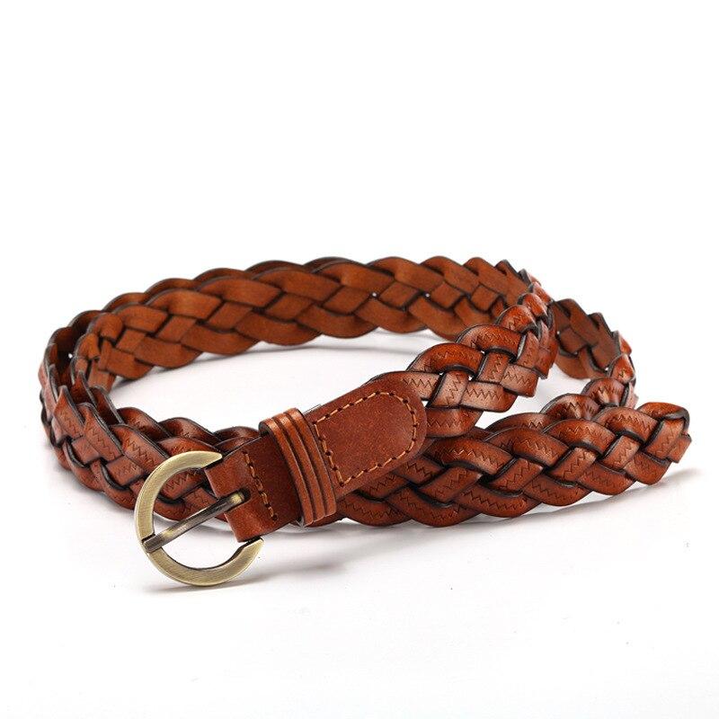 100% Cowhide Weave Belt For Women  Braid Belt Fashion Newest For Dress Ladies Female Belt Womens Belt PU Pin Buckle
