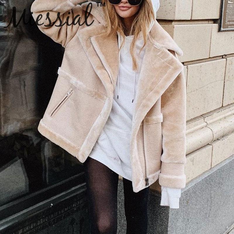 Miessial Cozy casual warm faux fur sheepskin coat Women outerwear plush coat Winter new coat padded russian autumn jacket 2019