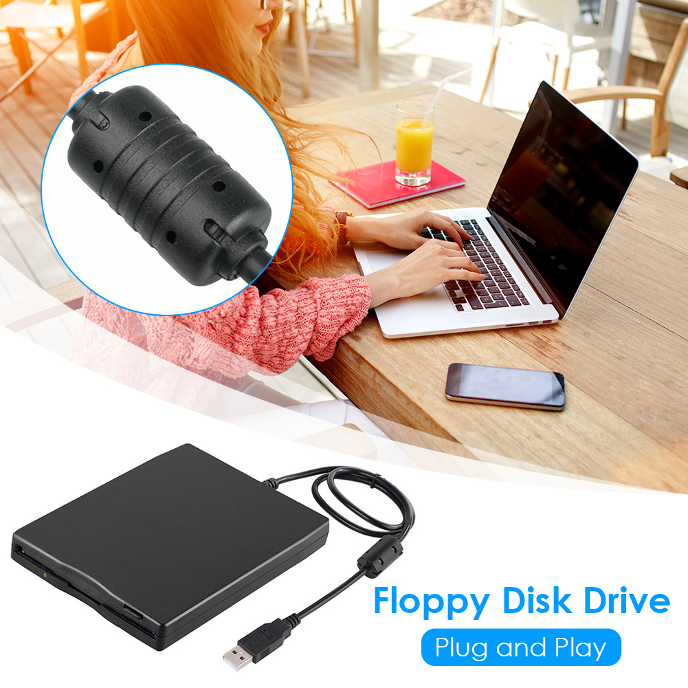 3.5 inch USB Mobile Floppy Disk Drive 1.44MB 2HD External Diskette FDD with USB Cable for Laptop Notebook PC 2