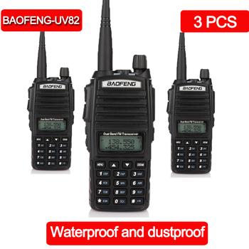 3 sztuk Walkie Talkie BaoFeng baofeng UV-82 dwuzakresowy VHF 136-174 400-520 MHz FM Ham dwukierunkowe Radio Transceiver walkie-talkie tanie i dobre opinie NoEnName_Null 2800mAh IP65 Przenośne 3 km-5 km 3 w-5 w 136-174MHZ and 400-520MHZ (TX RX) 132 x 60 x 35 mm (not included antenna)