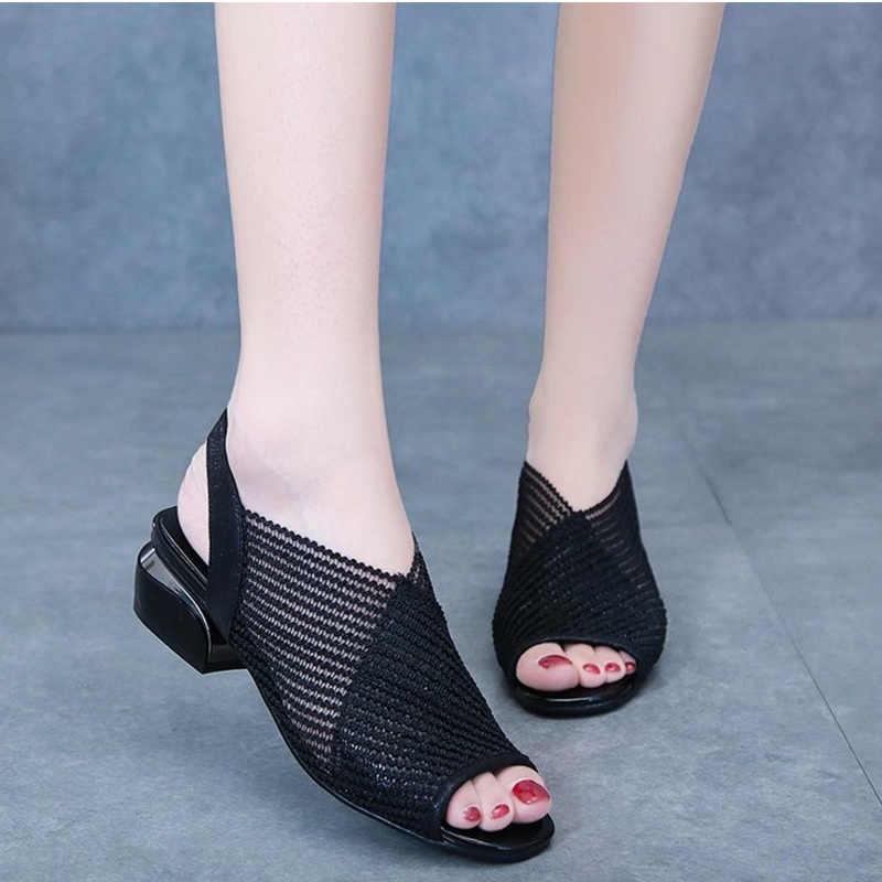 MCCKLE 2020 kadın sandalet moda kalın topuk Peep Toe kadın ayakkabı örgü nefes sandalet bayanlar artı boyutu kızlar yaz sandal