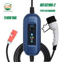 11kw 3p tipo 2 ev portátil cabo de carregamento da caixa switchable 10/16a schuko plug carregador de carro do veículo elétrico evse iec 62196-2 7m