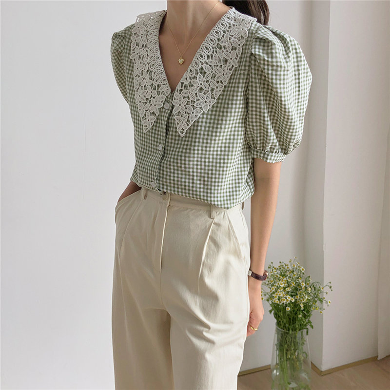 HziriP Hot Peter Pan Collar Plaid Patchwork Lace Thin Chic Sweet New 2020 Women Plus Summer Puff Sleeves All Match Loose Shirts