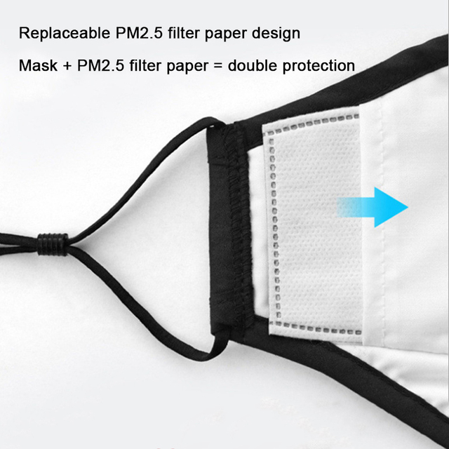 Anti Pollution PM2.5 Mouth Mask Dust Respirator Washable Reusable Masks Cotton Unisex Mouth Muffle For Allergy/Asthma/Travel 4