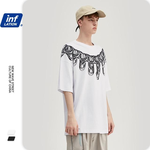 INFLATION Men Dark Style Tshirt Metal Chain Printing T-shirt Streetwear Men Oversized Tee Hip Hop Men Funny Tshirt 1192S20