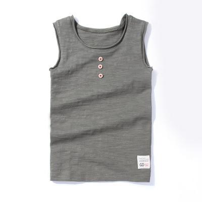 VIDMID New Baby Children vests summer boys Girls tanks sleeveless t-shirt Cotton solid tanks kids boys  beach clothes 7010 07 2