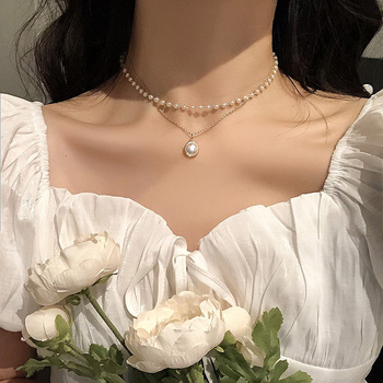 Fashion Pearl Choker Necklace Women Cute Girl Gold color Double Layer Chain Pearl Pendant Korean Jewelry Woman Collar Fashion Jewelry