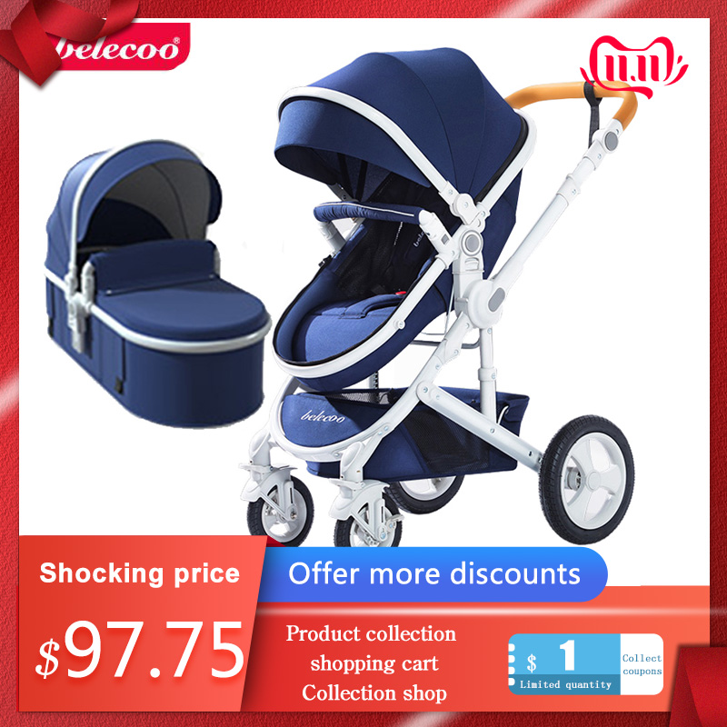 Belecoo Baby Stroller Can Sit Reclining Stroller High Landscape Folding Two-way Four-wheel Shock Absorber Stroller Free Shipping