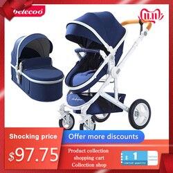 Cochecito de bebé Belecoo puede sentarse carrito reclinable alto paisaje plegable de dos vías cuatro ruedas amortiguador cochecito envío gratis