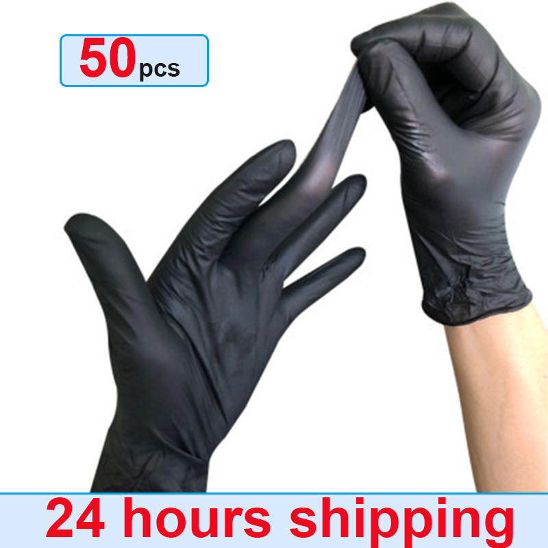 Vinyl Gloves 50PCS Disposable Gloves Powder-free Industrial Food Safety Nitrile Gloves Black 24 Hours Shipping