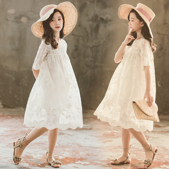 Kids Lace Dress New Baby Girls Dresses 2020 New Children Summer Dress Toddler Part Clothes Embroidery Floral Beautiful,#5209