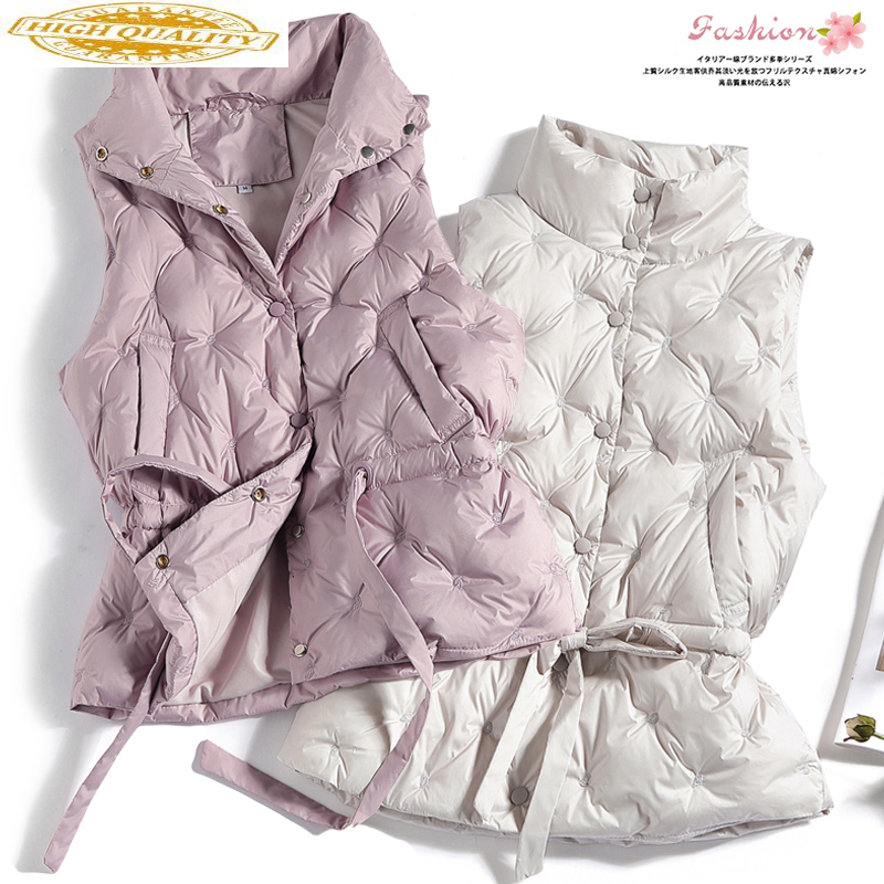 Women's Vest Autumn Winter Sleeveless Down Jacket Women Puffer Vest White Duck Down Coat Korean Vests 2020 KJ3830