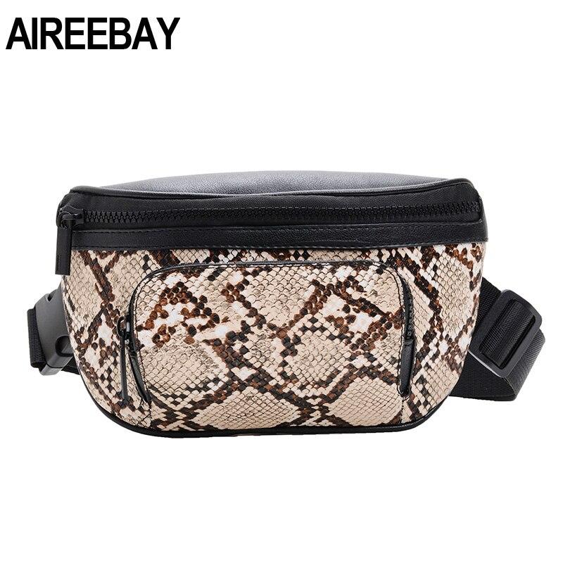 AIREEBAY Women Serpentine Fanny Pack Ladies New Brand Design Fashion Waist Bag Leather Small Shoulder Belt Bag For Female