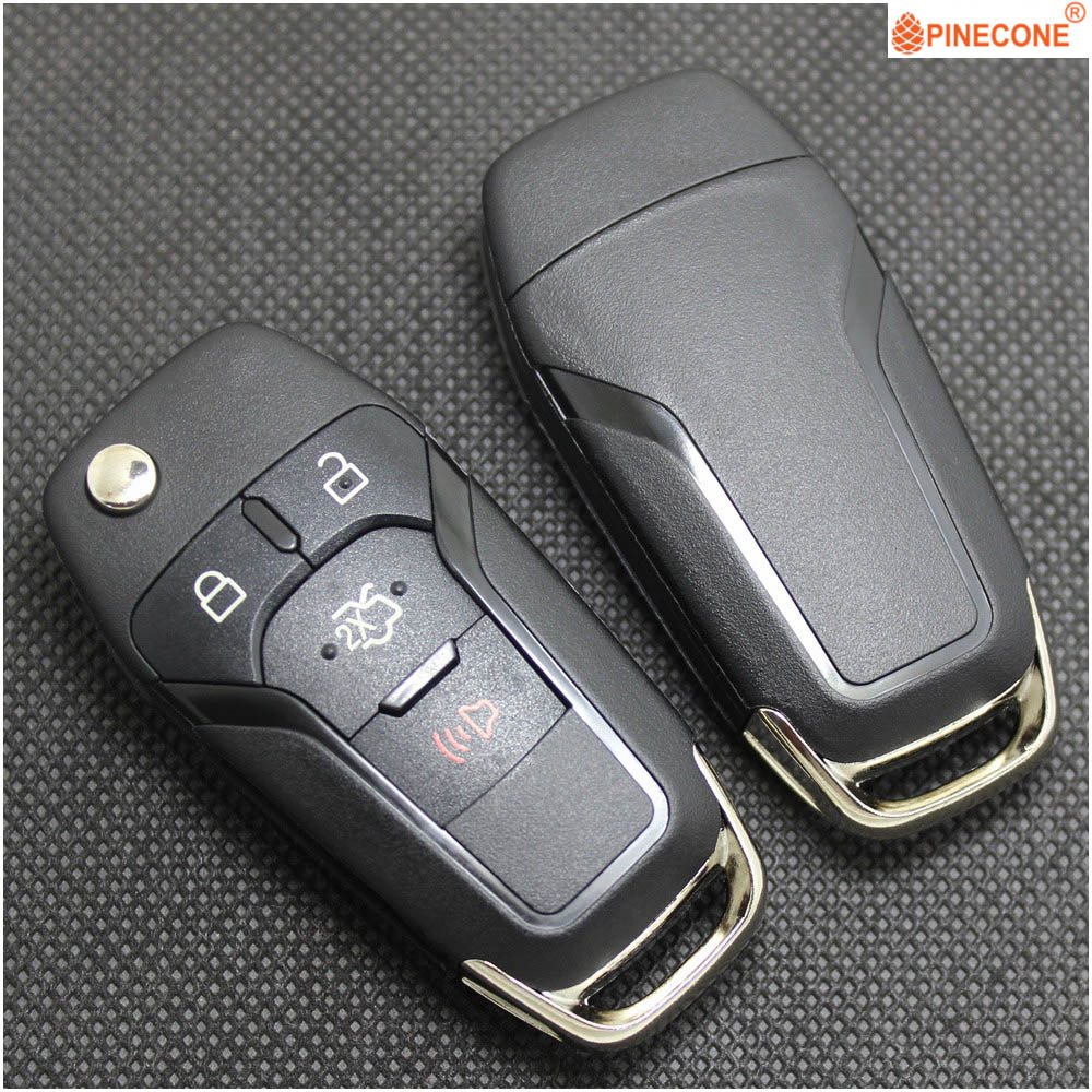 PINECONE for <font><b>FORD</b></font> MONDEO FOCUS <font><b>FUSION</b></font> EDGE EXPLORER 2013 2014 <font><b>2015</b></font> <font><b>Key</b></font> Case 4 Button HU101 Blade Replace Car <font><b>Key</b></font> Fob Shell image