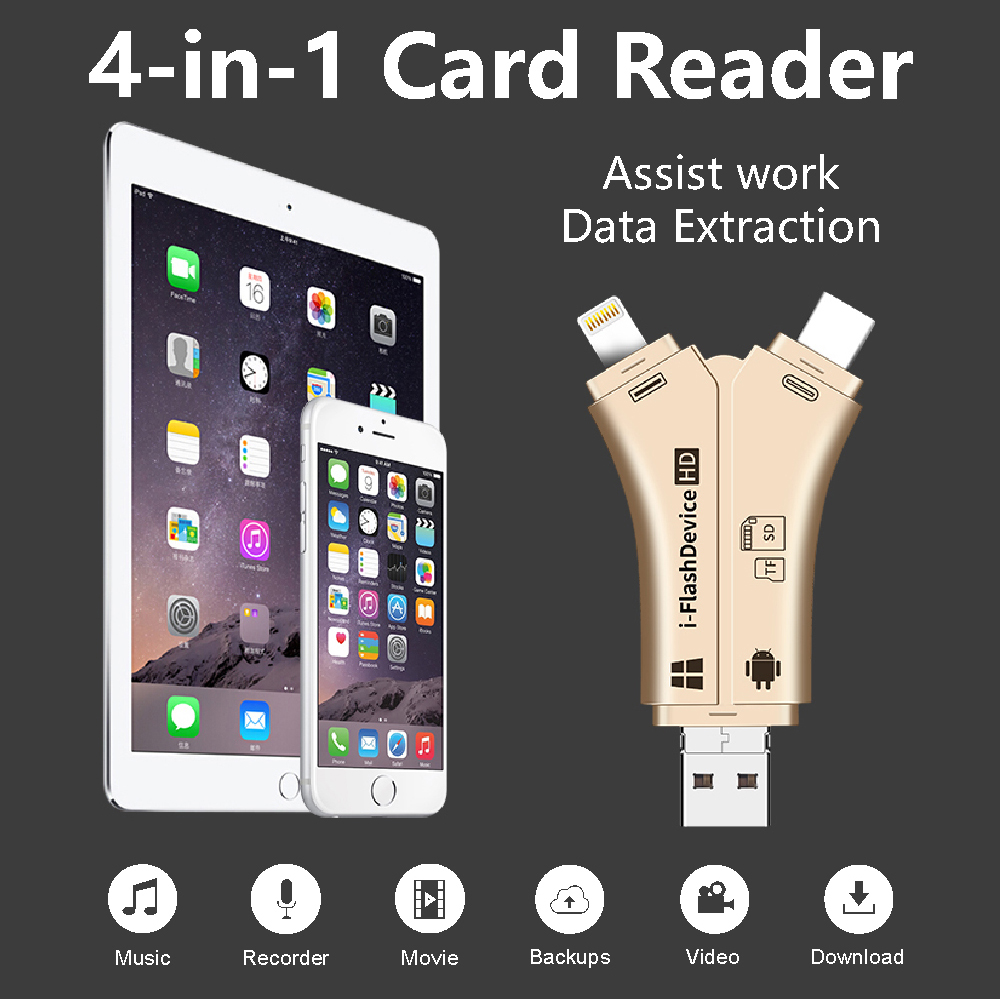 NEW 4 In 1 I Flash Drive USB Micro SD&TF Card Reader Adapter For IPhone XS Max/ XS /X/7 8 PLUS For IPad Touch MAC PC