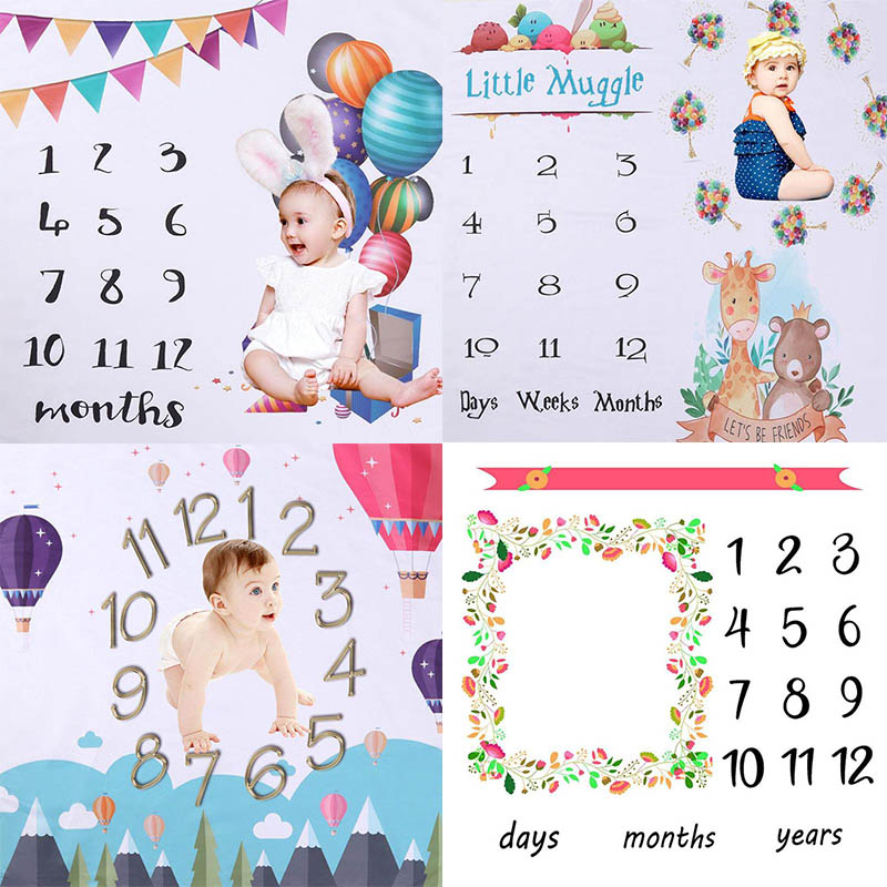 Baby Infant Monthly Growth Milestone Blanket Photography Props Background Cloth Washable Souvenir Commemorate Rug 100 * 100cm