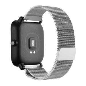 Image 5 - 20 มม.สร้อยข้อมือสำหรับXiaomi Huami Amazfit Smartสมาร์ทนาฬิกาสายโลหะสแตนเลสสตีลเข็มขัดสำหรับAmazfit Bipสายรัดข้อมือ