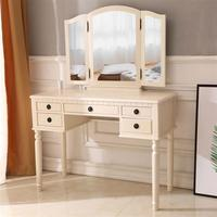 European style Dresser Three Fold Square Mirror 5 Drawers Roman Column Table Stool Fluorescent Pink For Makeup Item