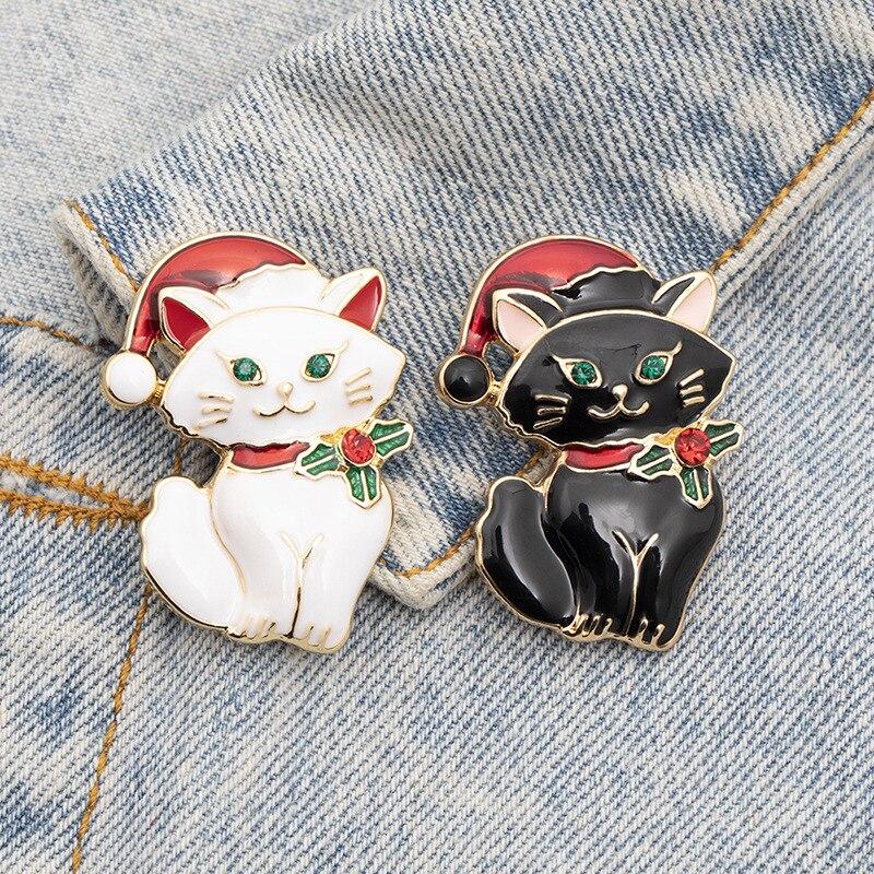 Ретро Милая Рождественская кошка черно-белая брошь кошка животное кордалис аксессуары для одежды модные ювелирные броши